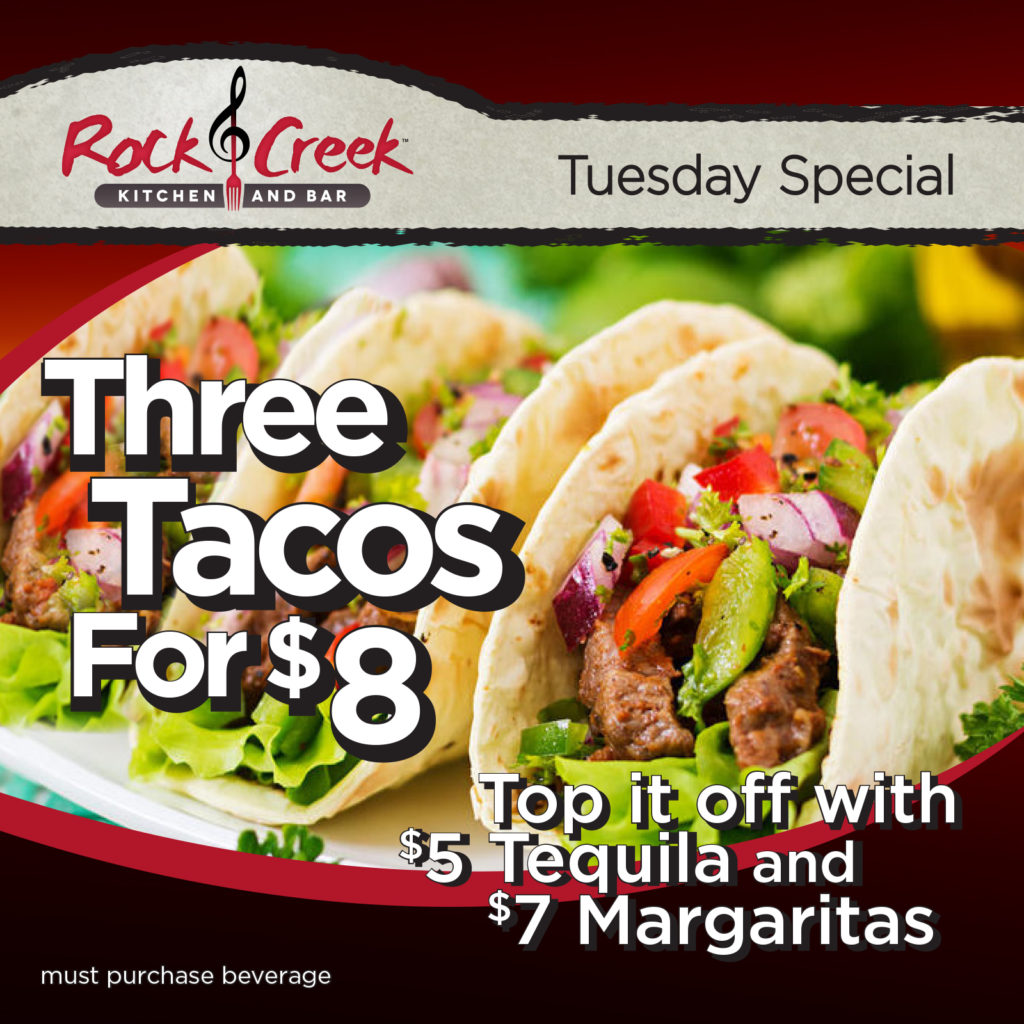 Ad with three tacos on a plate advertising the Tuesday special